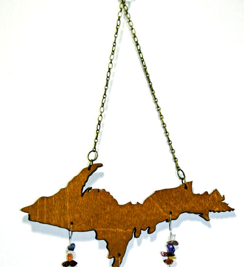Chain on Agate Geode Stone Wind Chimes Strung On Upper Peninsula Michigan Wood
