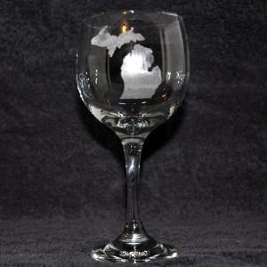 Laser Engraved Michigan Wine Glass