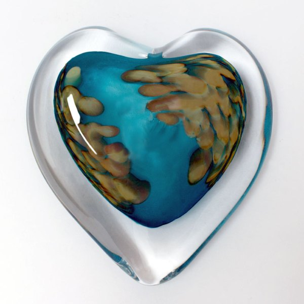 Coral Sea Blown Glass Heart Paperweight