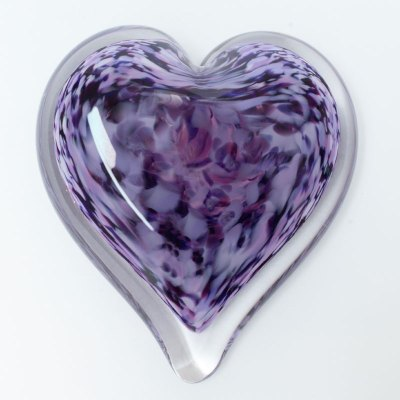 Lilac Blossom Blown Glass Heart Paperweight
