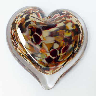 Rock Candy Blown Glass Heart Paperweight