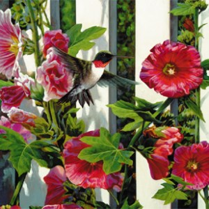 Hollyhocks Giclee Print on Wrapped Canvas by Artist Russell Cobane