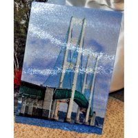 Glass Photo Cutting Board Mackinac Bridge