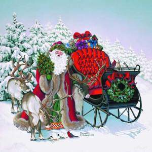 Santa's Jolly Sleigh Giclee Print on Wrapped Canvas by Artist Margaret Cobane