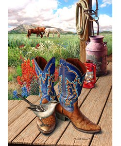 Fancy Boots Giclee Print on Wrapped Canvas by Artist Russell Cobane