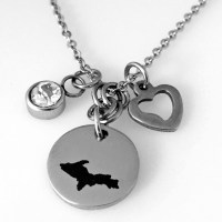 Personalize U.P. Engraved Round Metal Pendant with Charms