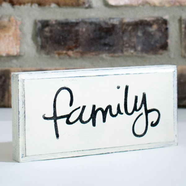 White Rustic Shabby Chic Family Sign