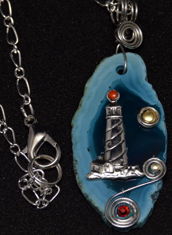 Agate Slice Lighthouse Pendant Turquoise BLHR