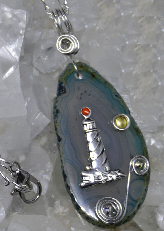 Agate Slice Lighthouse Pendant Teal TCLH