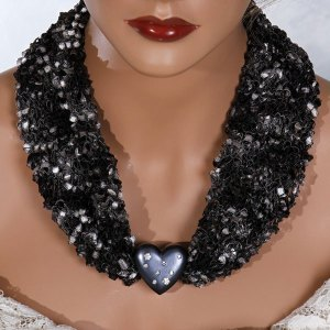 Black White Gray Heart Scarf Necklace