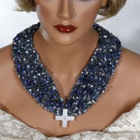 Blue White Cross Scarf Necklace