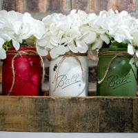 Chalk Painted Jars Centerpiece
