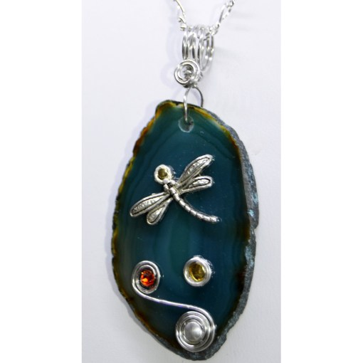 Teal Agate Slice Dragonfly Pendants