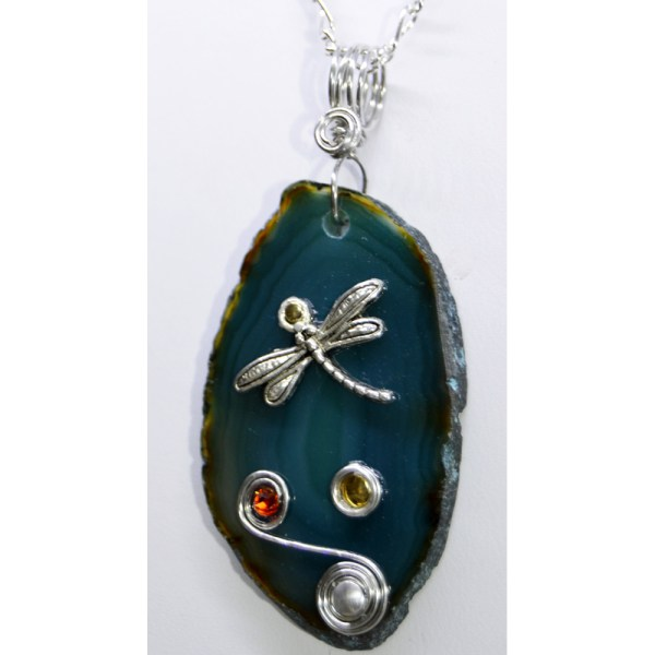 Teal Agate Slice Dragonfly Pendants