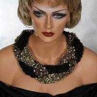 Gold Black Bronze Braid Scarf Necklace