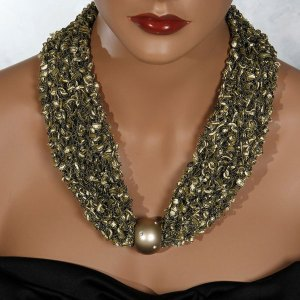 Gold Bead Scarf Necklace