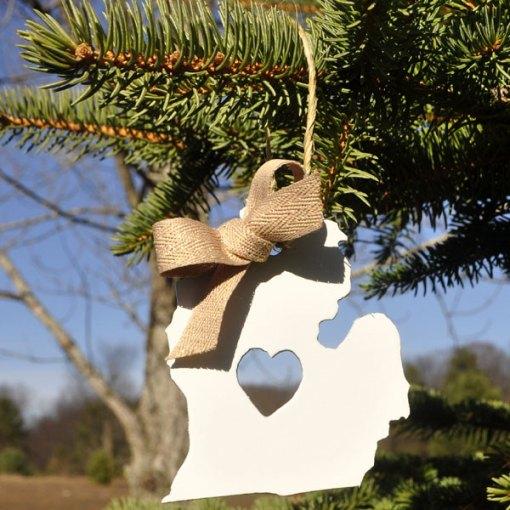 White Lower Michigan Ornament