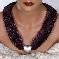 Purple Pink Silver Heart Bead Scarf Necklace