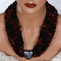 Red Black Charcoal Heart Bead Scarf Necklace