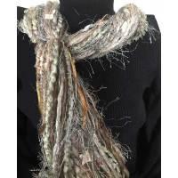 Ribbon Yarn Soft Beige Scarf