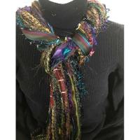 Ribbon Yarn Turquoise Wine Green Scarf