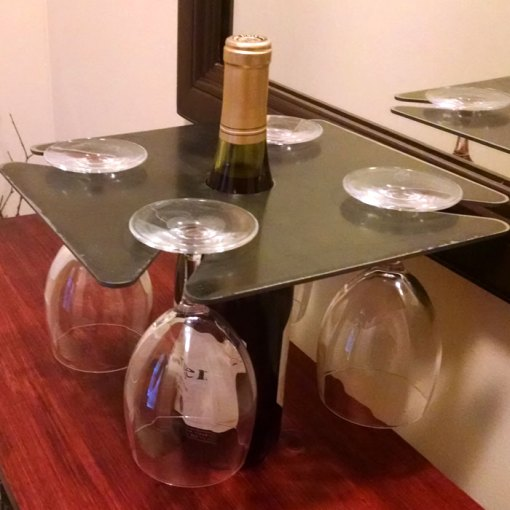 Metal Wine Bottle Glass Holder