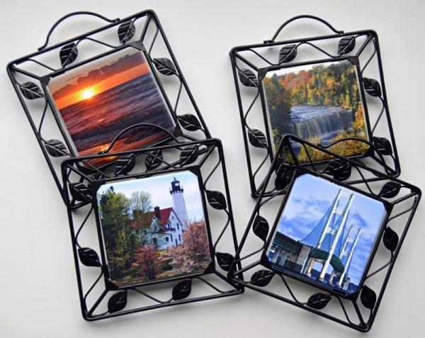 Metal Framed Scenic Photo Trivet