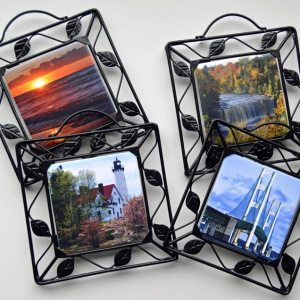Metal Framed Scenic Photo Trivet
