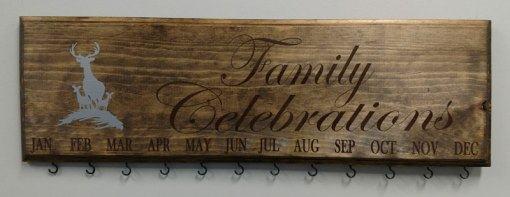 Family Celebration Board Brown Text Silver Design