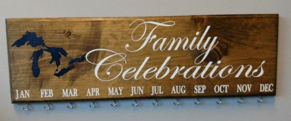 Family Celebration Board White Text Dark Blue Design