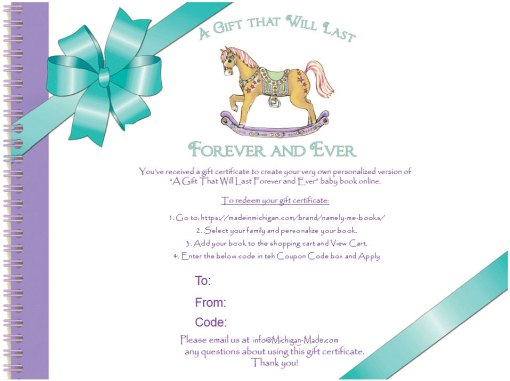 Personalized Family Book Gift Certificate