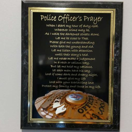 Police Officer's Prayer Engraved Plaque Police Badge