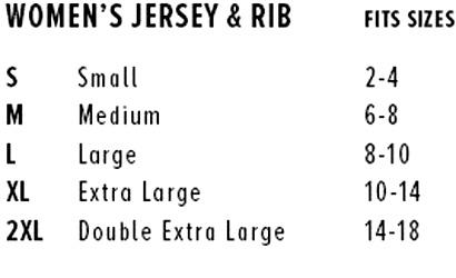 Womens Jersey Rib Size Chart