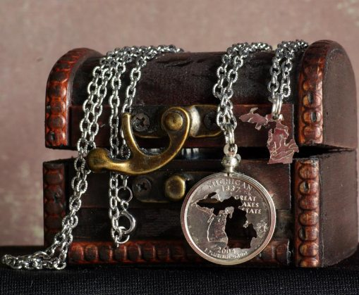 Michigan Quarter Inlay Necklace Set