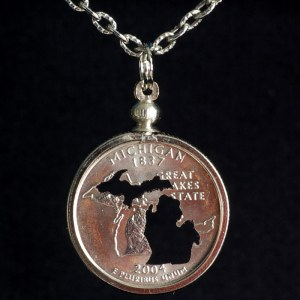 Michigan Silhouette Quarter Necklace