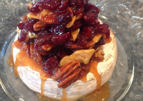 Balsamic Onion Roasted Garlic Spread on Baked Brie