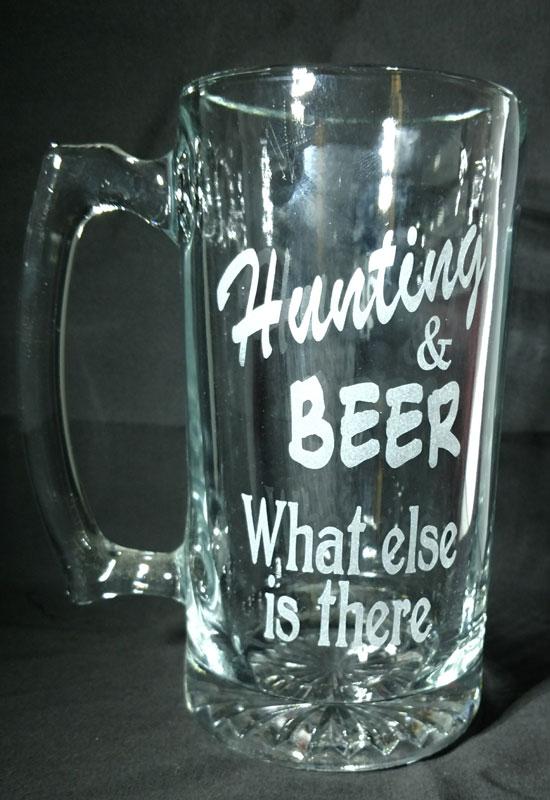Engraved Large Beer Mug Hunting & Beer