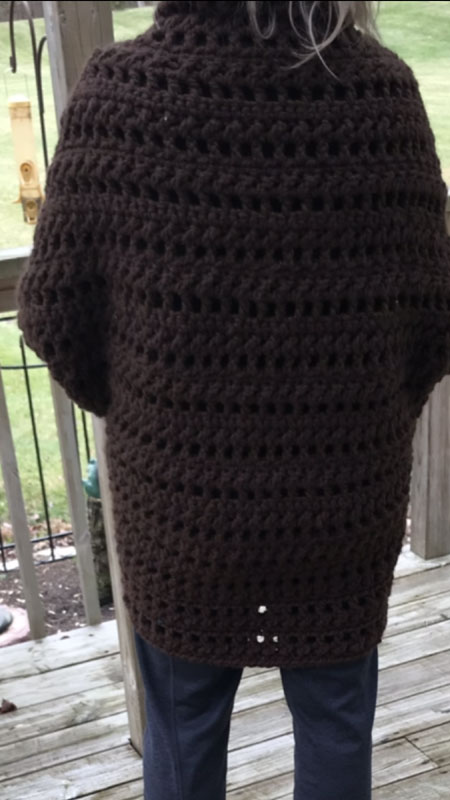 Crochet Granny Sweater Brown