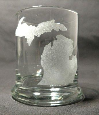 Michigan Map Michigan Theme Rocks Glass
