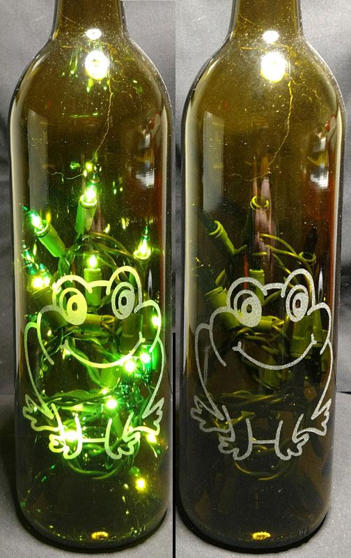 Engraved Lighted Bottle Brown with Green Lights Frog Design