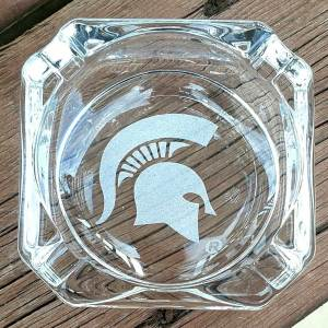 Engraved MSU Spartan Ashtray