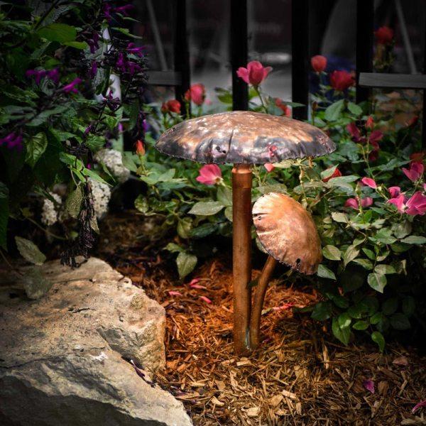 Two Mushroom Caps Copper LED Landscape Light