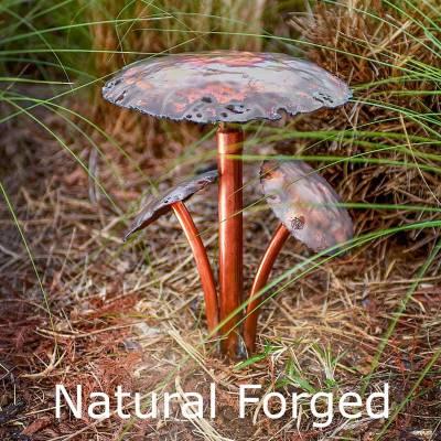 Three Mushroom Caps Copper LED Landscape Light Naturally Forged