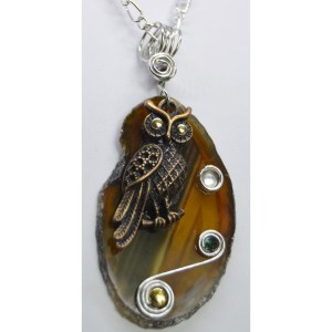 Brown Agate Slice Owl Pendant
