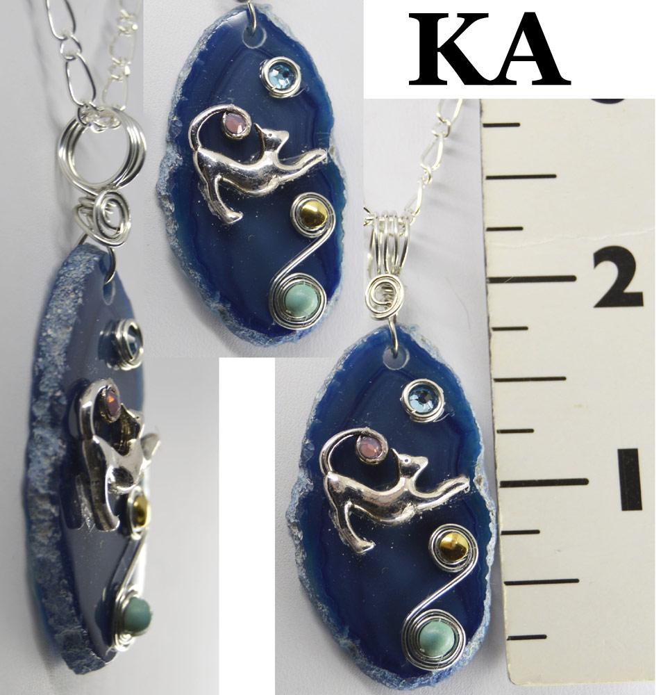 Kitten Blue Agate Necklace