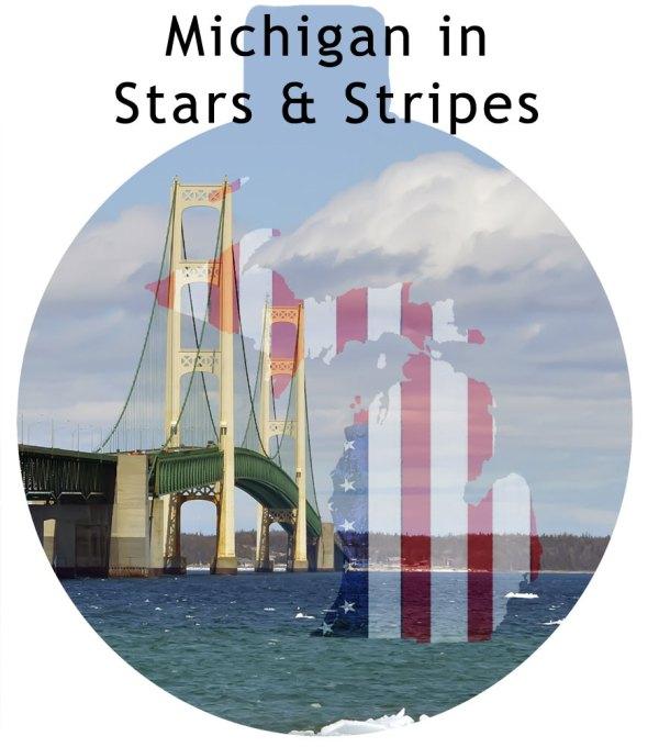 Metal Michigan Ornament - Michigan Stars and Stripes