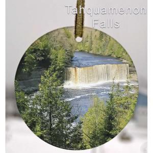 Michigan Waterfalls Glass Suncatcher Ornament Tahquamenon Falls