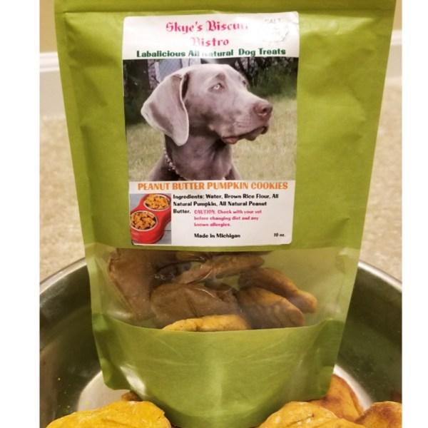 Peanut Butter All Natural Pumpkin Cookies Dog Treat