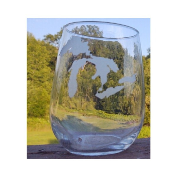 Great Lakes Michigan Stemless Glass
