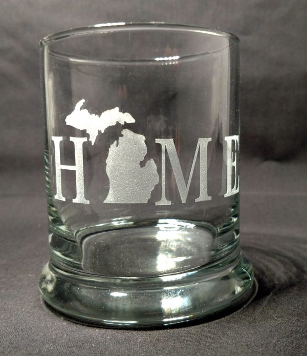 Engraved Michigan HOME Rocks Glass Personalize
